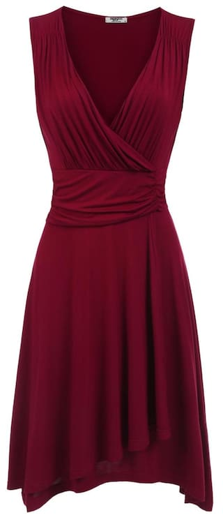 Women V-Neck Sleeveless Faux Wrap Ruched Waist Casual Party Dress-Wine Red