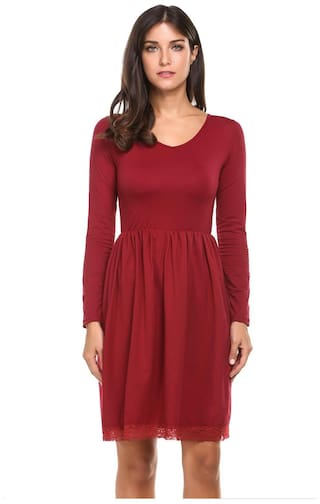 Wine Sleeve Lace V Neck Trim Solid Dress Women Red Casual Long Betterlife XqHvwxIp1