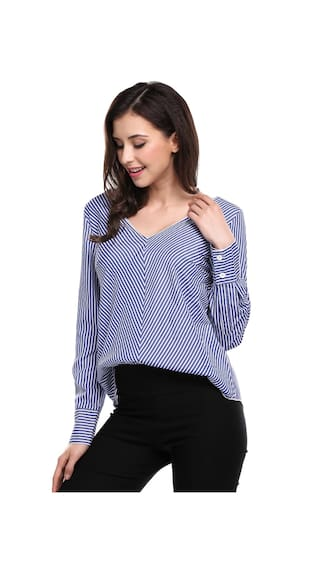 Long Shirt Back Neck Sleeve Striped V Blouse Casual Tie Women AwSxvUEq