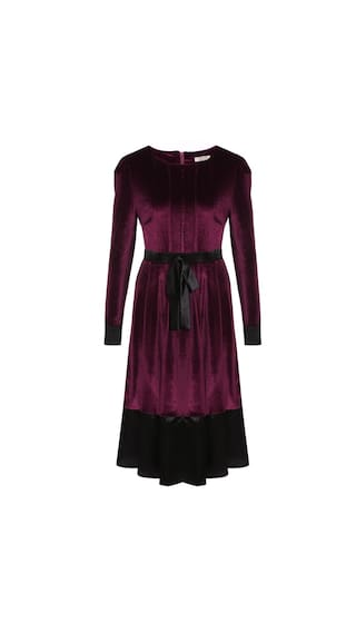 Women Vintage Style Puff Sleeve Patchwork Bow Party Pleated Dress