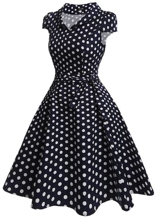 Dress Neck Vintage Print Dots Women Cap V Polka Swing Sleeve Belted Style tqBddwWUnP