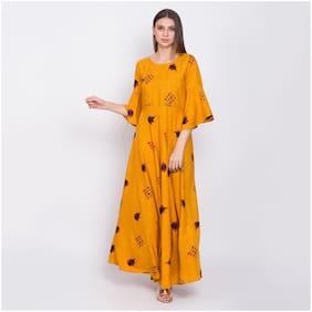 O Madam Yellow Printed Maxi dress