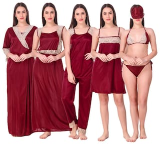 FASHION NIGHTWEAR Maroon Night Gown & Robe and Lingerie Set