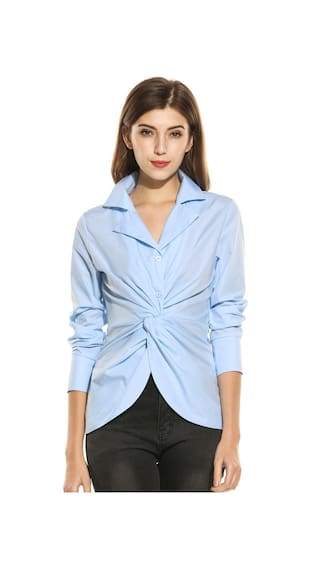 Womens Casual Long Sleeve Slim Solid Turn Down Collar Elegant Shirt