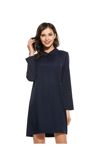 Betterlife Womens Casual Long Sleeve Loose Turn Down Collar Solid Long Shirt-Blue