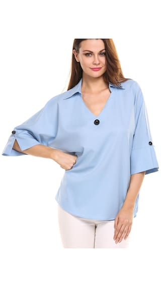 Womens Casual 3/4 Sleeve Loose V Neck Solid Chiffon Pullover Shirt Top-Blue