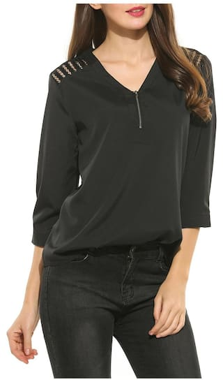 Shoulders Betterlife Shirt On Solid Cut outs Black Sleeve With Neck Casual Womens 4 The V 3 wrf6Uw