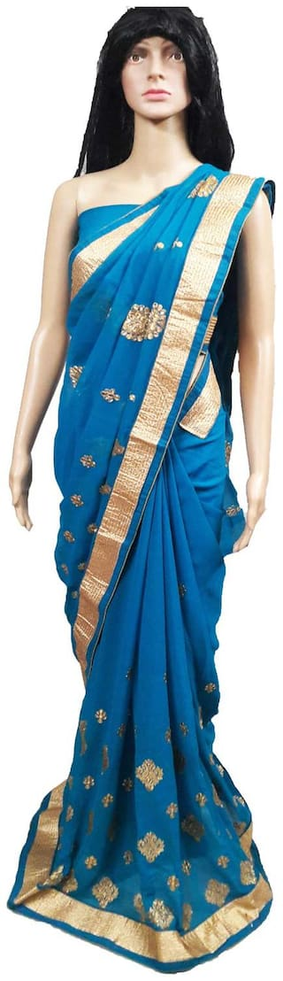 Womens/Girls Turquoise Georgette Embroidered Saree With UnStiched Blouse