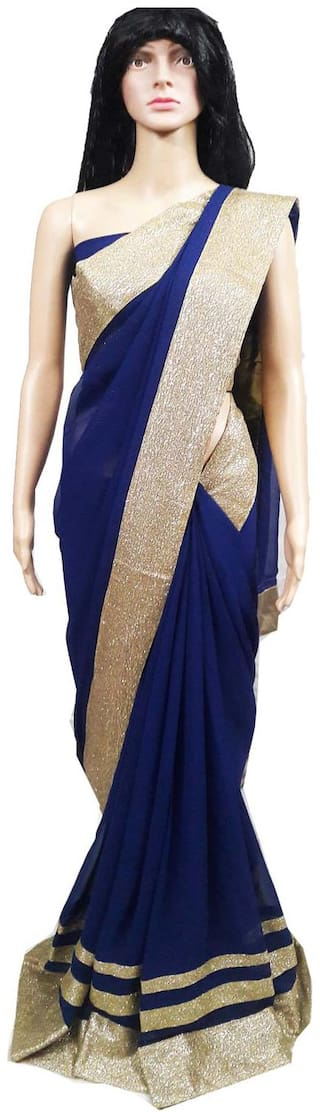 Womens/Girls Blue Chiffon Lace Saree With UnStiched Blouse