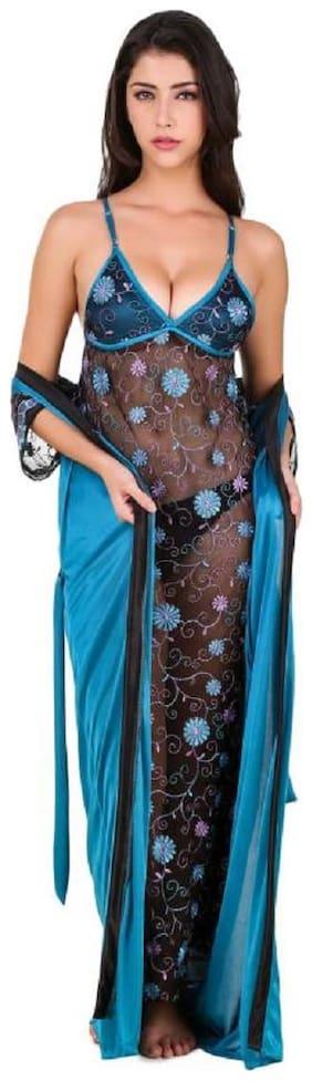 FASHION NIGHTWEAR Blue Nighty with Robe