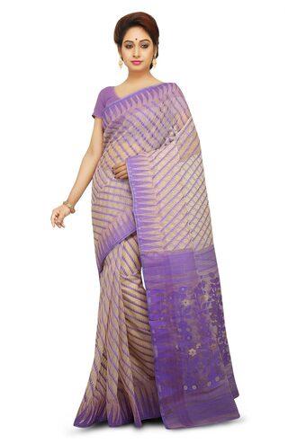 Wooden Tant Temple Border Dhakai Jamdani Handloom Saree in Beige with Purple Thread Work
