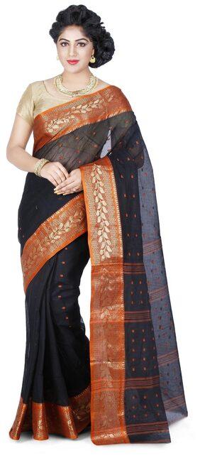 WOODENTANT Cotton Bengal Tant Zari Work Saree - Multi