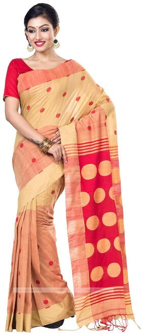 WoodenTant Handloom Cotton Pure Khadi Saree in Beige