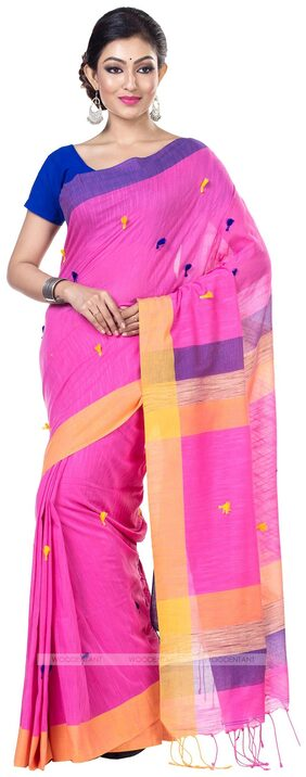 WoodenTant Handloom Cotton Pure Khadi Saree in Pink