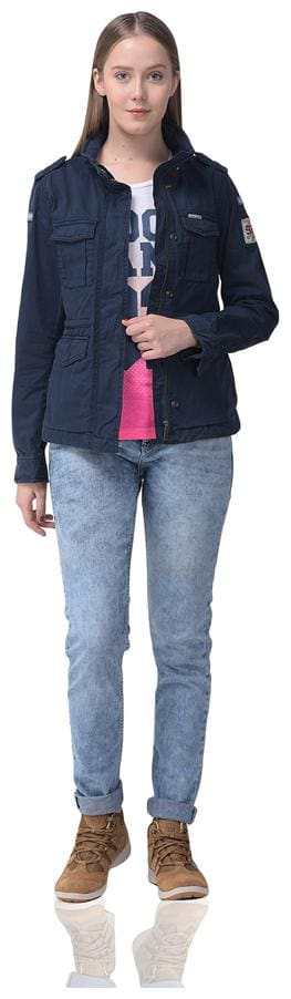Woodland Cotton Solid Navy Blue Bomber Jacket Women