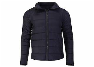 Woodland Men Black Solid Quilted jacket