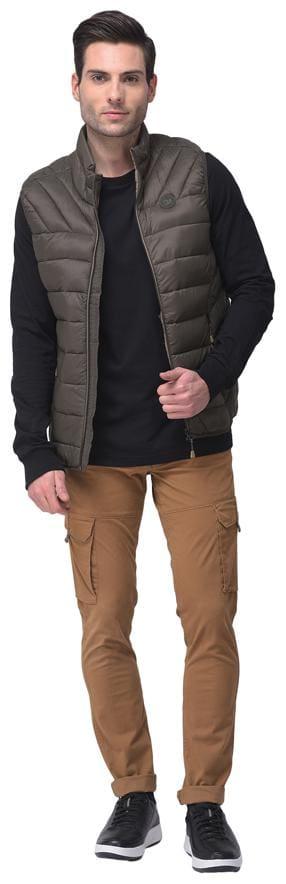 Woodland Men Olive Solid Quilted jacket
