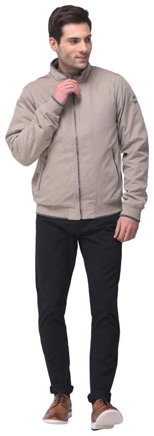 Woodland Men Grey Solid Quilted jacket