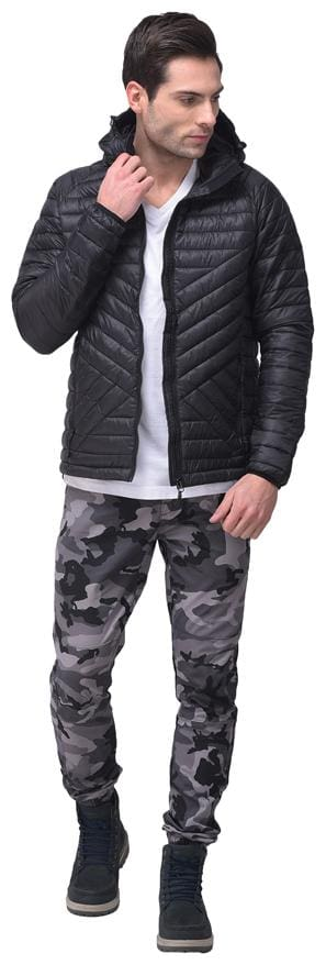 Woodland Men Black Solid Quilted jacket