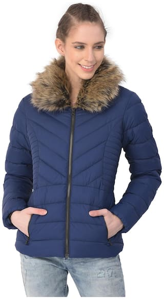 Woodland Women Solid Quilted Jacket - Blue
