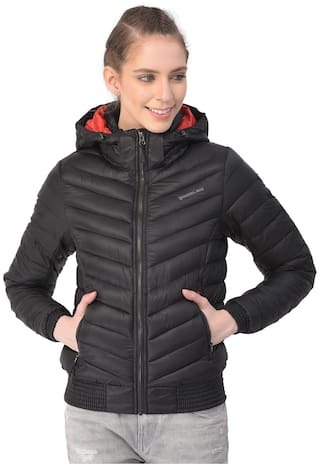 Woodland Women Solid Quilted Jacket - Black