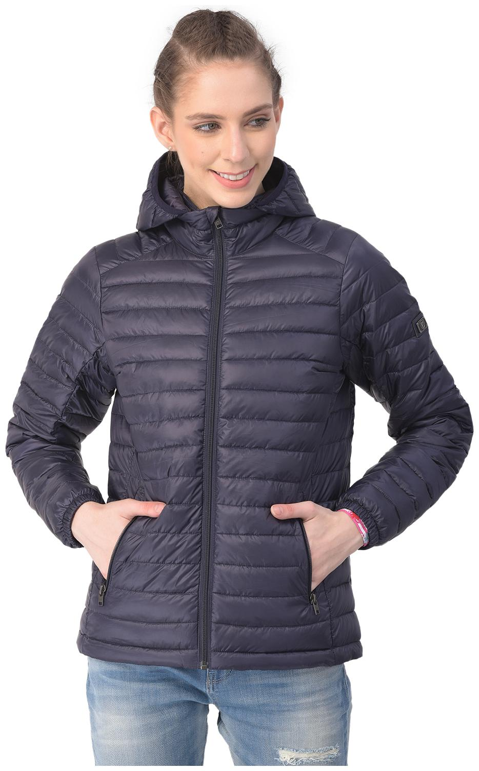 Woodland Women Polyester Full Sleeves Quilted Jacket  Navy Blue