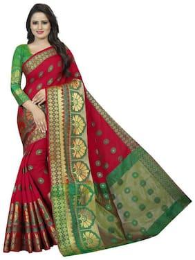 Darshana Red Woven Banarasi Designer Saree With Blouse , With blouse