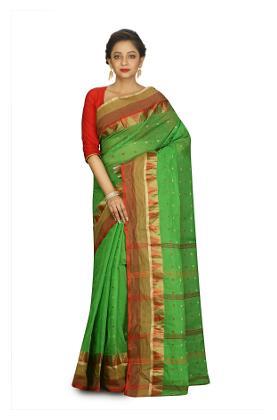 Fabluom Cotton Bengal Tant Zari Work Saree - Green