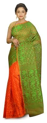 Woven Silk Cotton Jamdani Saree in Green and Peach without Blouse