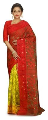 Fabluom Silk Jamdani Zari work Saree - Red , With blouse