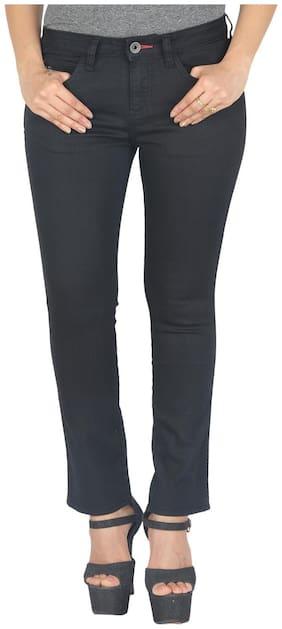 Wrangler Black Mid Rise Slim Fit Jeans(Drew)