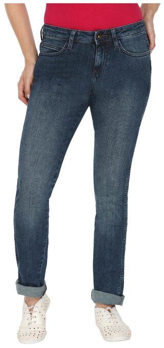Wrangler Blue Mid Rise Slim Fit Jeans(Drew)