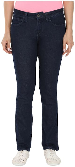 Wrangler Women Regular Fit Mid Rise Solid Jeans - Blue