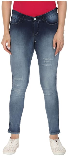 Wrangler Women Flared Fit Low Rise Printed Jeans - Blue