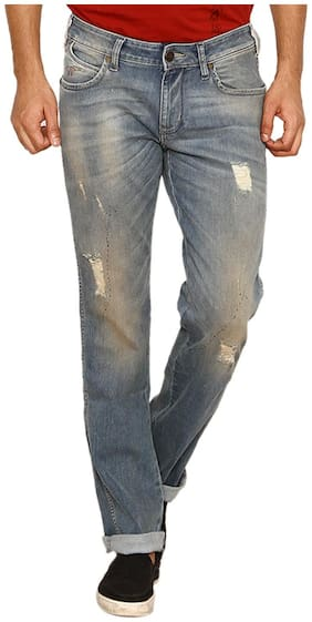 Wrangler Blue Low Rise Slim Fit Dirty Tinted Jeans