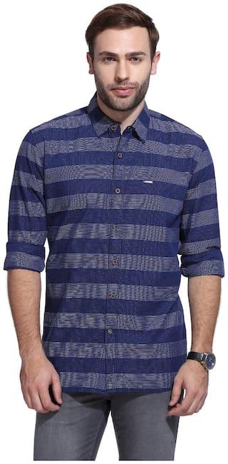 Wrangler Men Blue Horizontal Stripes Regular Fit Casual Shirt