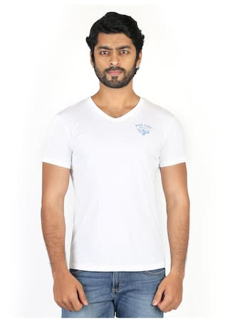 de192e67 Buy Wrangler Men Slim Fit V Neck Solid T-Shirt - White Online at Low ...