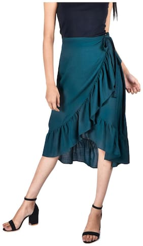 GIRAFFE & CO. Wrap skirt Midi Skirt - Green