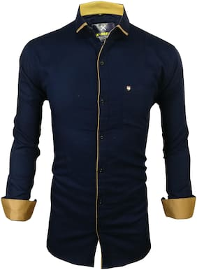 X-MEN Men Blue Solid Slim Fit Casual Shirt