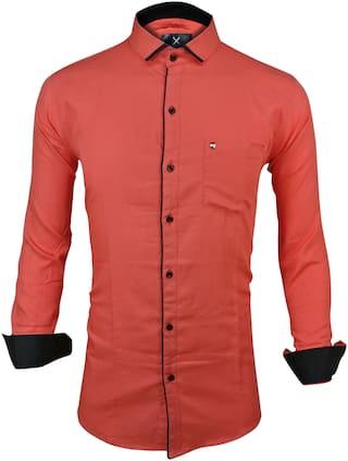 X-MEN Men Orange Solid Slim Fit Casual Shirt