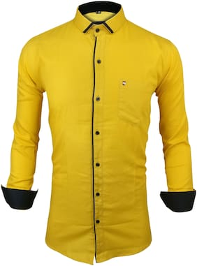 X-MEN Men Yellow Solid Slim Fit Casual Shirt