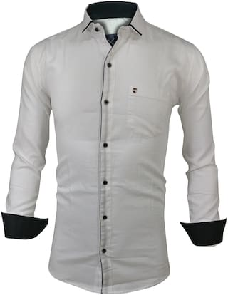 X-MEN Men White Solid Slim Fit Casual Shirt