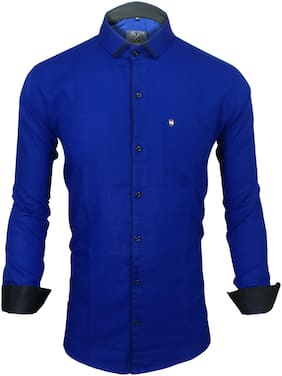 X-MEN Men Blue Solid Slim Fit Casual Shirt