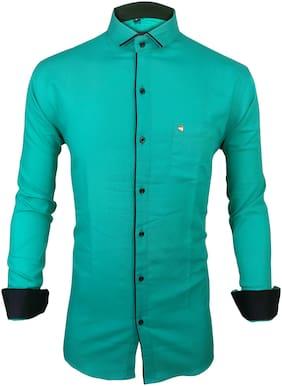 X-MEN Men Green Solid Slim Fit Casual Shirt