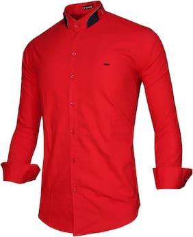 X-MEN Men Red Solid Slim Fit Casual Shirt