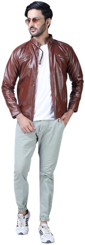 Xee Men Leather Regular Fit Jacket - Maroon