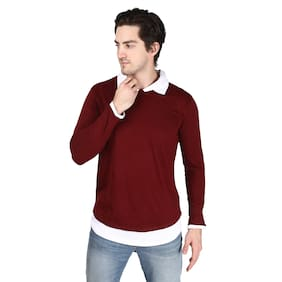 Xite Cotton Solid Maroon Color T-Shirt for Men
