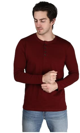 Xite Men Maroon Regular fit Cotton Henley neck T-Shirt - Pack Of 1
