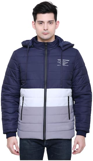 Xohy Full Sleeve Quilted Hooded Jacket For Men-Blue