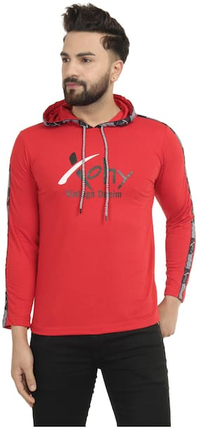 XOHY Men Red Regular fit Cotton Hood T-Shirt - Pack Of 1